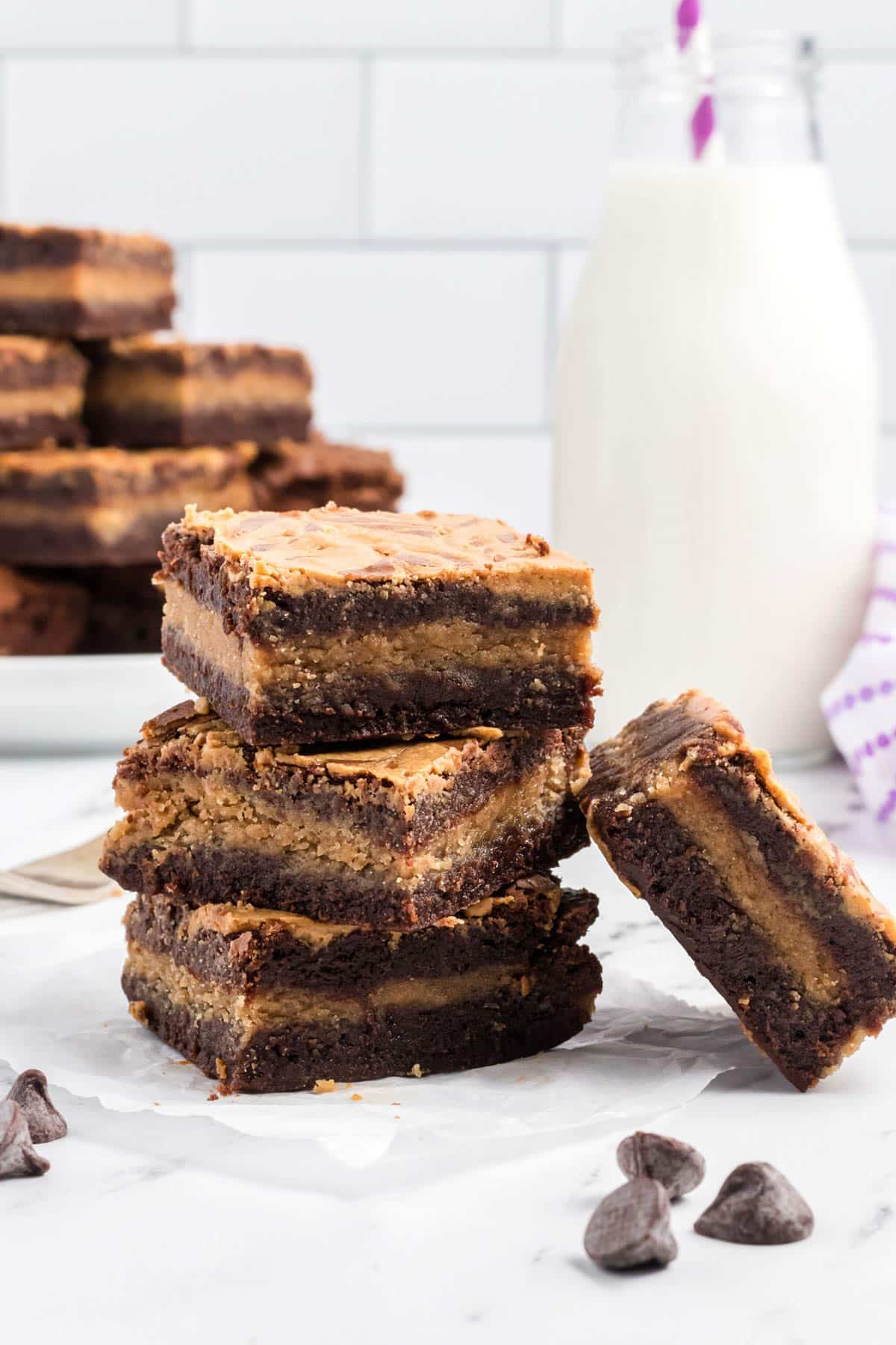 a stack of brownies.
