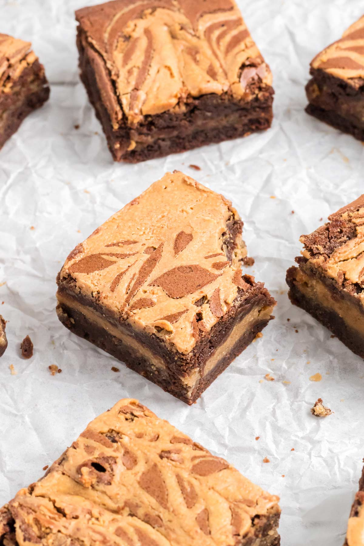 close-up of a peanut butter brownie.
