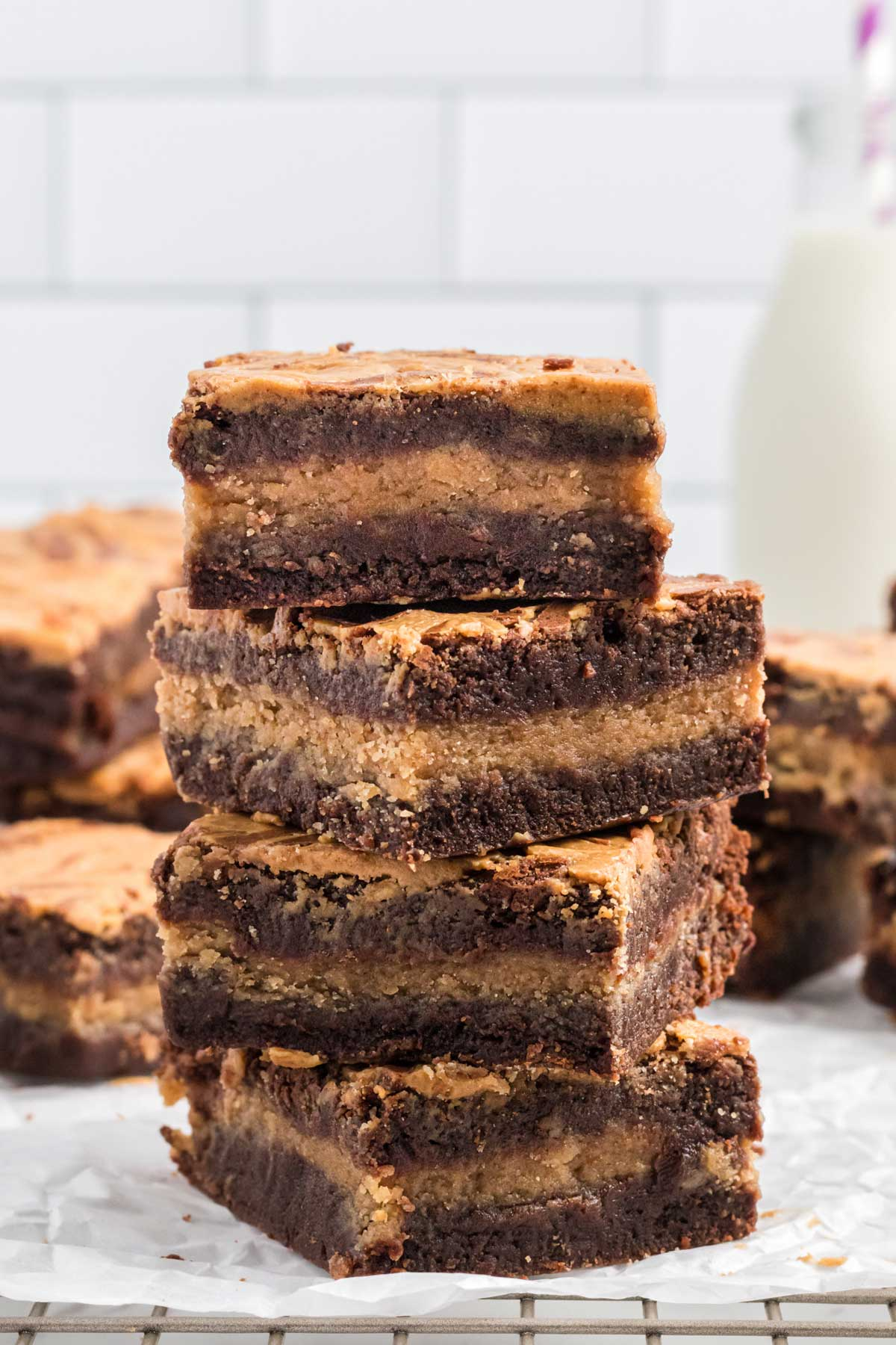 a stack of four brownies.