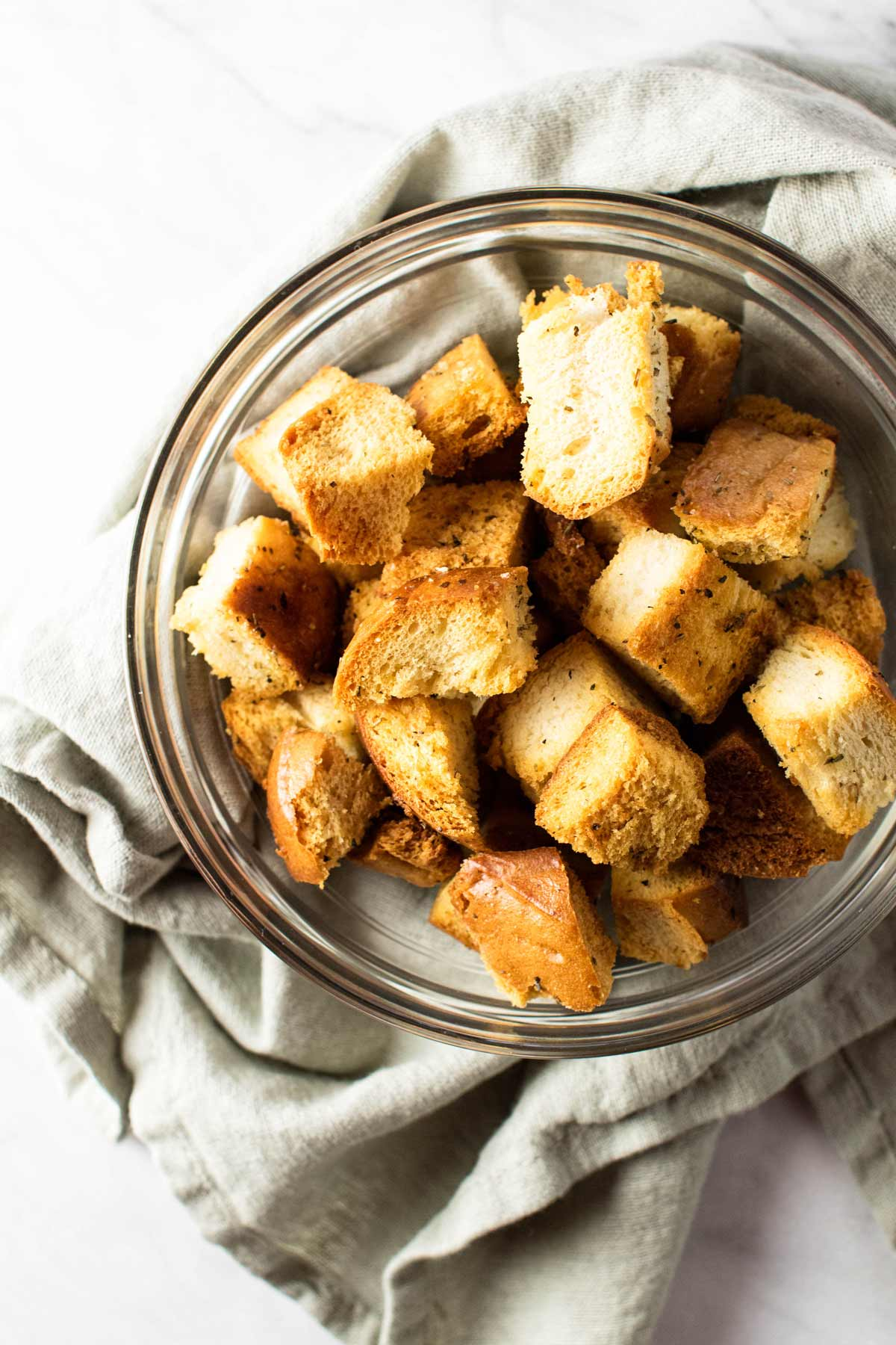 overhead shot of a bowl of croutons.
